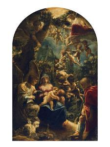 The Holy Family with Angels and John the Baptist, about 1599 by Adam Elsheimer