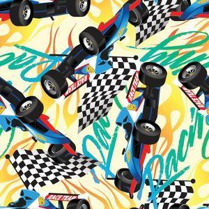 Racing with Checkered Flag Seamless Pattern by Adam Fahey