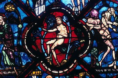 Adam in Eden, Stained Glass, Chartres Cathedral, France, 1205-1215--Photographic Print