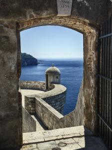 Adriatic Sea Framed By Gate, Dubrovnik, Croatia by Adam Jones