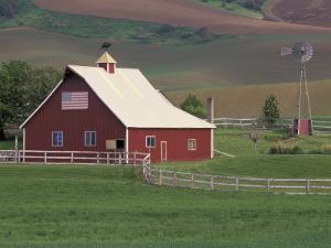 Barn and Windmill in Colfax, Palouse Region, Washington, USA by Adam Jones