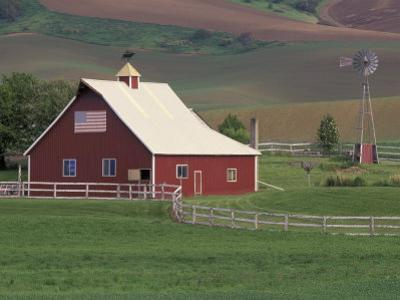 Barn and Windmill in Colfax, Palouse Region, Washington, USA by Adam Jones