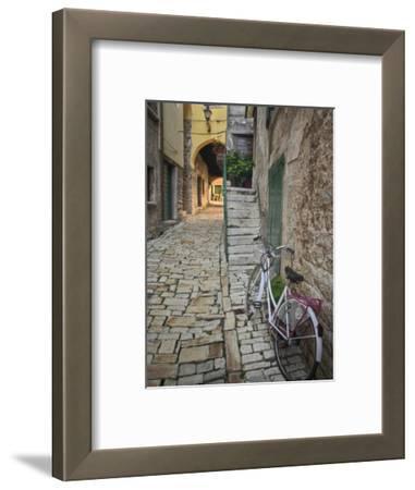 Bicycle and Cobblestone Alleyway, Rovigno, Croatia