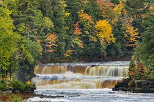 Cascade on Tahquamenon Falls in autumn, Tahquamenon Falls State Park, Michigan by Adam Jones