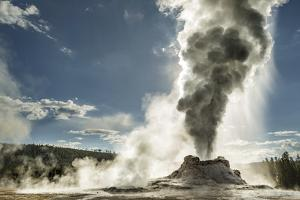 Castle Geyser erupting, Upper Geyser Basin, Yellowstone National Park, Wyoming by Adam Jones