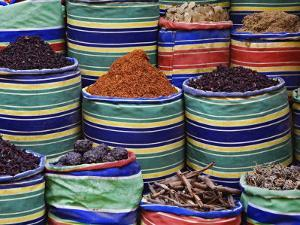 Colorful Spices at Bazaar, Luxor, Egypt by Adam Jones