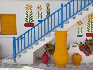 Flowers and Colorful Pots, Chora, Mykonos, Greece by Adam Jones