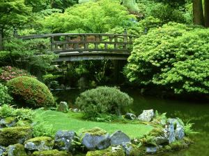 Footbridge, Japanese Garden Portland, Oregon by Adam Jones