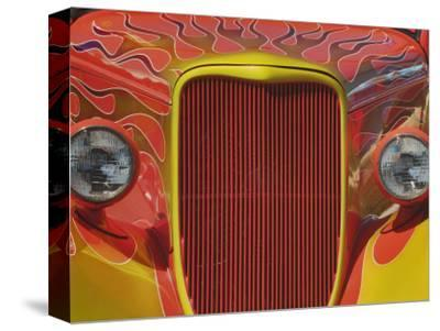 Front End View of an Artistically Painted Hot Rod Car
