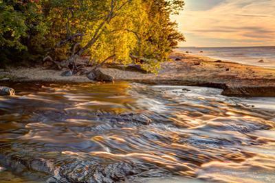 Hurricane River Flowing into Lake Superior at Sunset, Upper Peninsula of Michigan