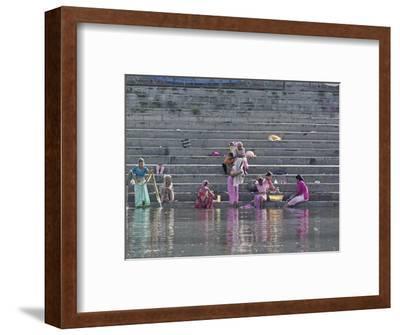 Indian Women Bathing and Washing Clothes, Lake Pichola, Udaipur, India