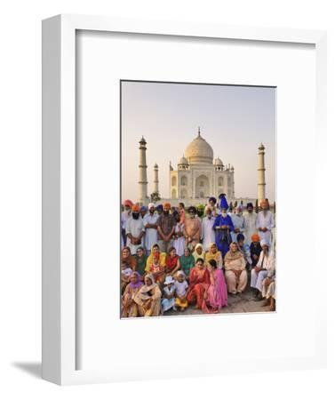 Large Family Group of Sikhs Posing in Front of the Taj Mahal, a Mausoleum Located in Agra