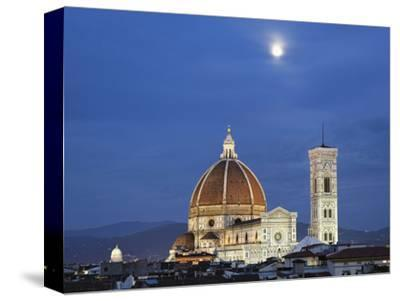 Moonrise over Florence Cathedral, Basilica Di Santa Maria Del Fiore at Dusk, Florence, Italy