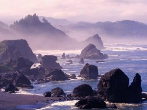 Morning Mist along Oregon Coast near Nesika, Oregon, USA by Adam Jones