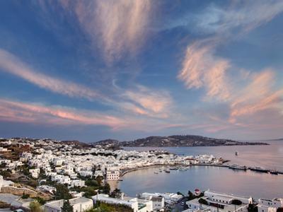 Mykonos Harbor at Sunset, Mykonos, Greece by Adam Jones