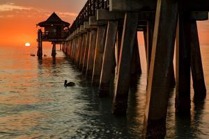 Naples Pier at sunset and Gulf of Mexico, Naples, Florida. by Adam Jones