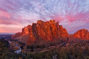 Smith Rock State Park at sunrise, Oregon. Famous for rock climbing. by Adam Jones