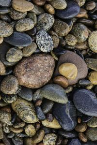 Smooth granite pebbles on beach of Lake Superior, Whitefish Point, Michigan by Adam Jones