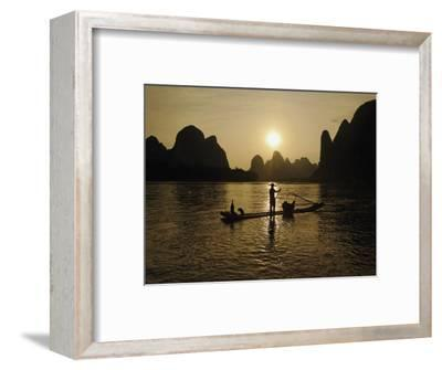 Traditional Chinese Fisherman with Cormorants, Li River, Guilin, China