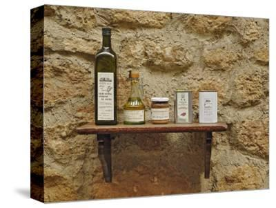 Various olive oil containers, Monteriggioni, Tuscany, Italy