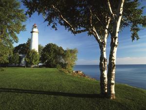 View of Lake Huron, Ponte Aux Barques Lighthouse, Michigan, USA by Adam Jones