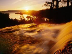 Waterfall at Sunrise in Eagle Creek Above Emerald Bay, Lake Tahoe, California, USA by Adam Jones