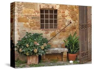 Window and Ancient Stone Wall, Pienza, Tuscany, Italy by Adam Jones