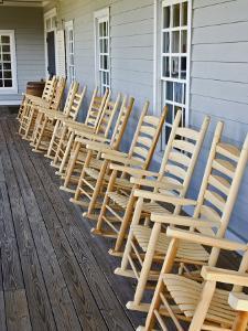 Wooden Rocking Chairs, Labrot & Graham Distillery, Kentucky, USA by Adam Jones