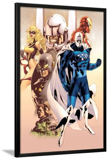 Adam: Legend Of The Blue Marvel No.1 Cover: Blue Marvel, Yellowjacket, Ms. Marvel and Iron Man-Mat Broome-Lamina Framed Poster