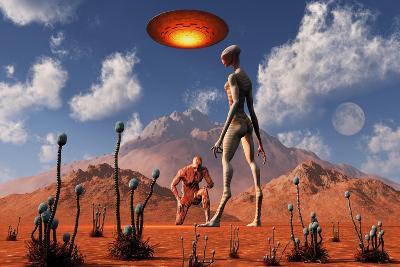 Adam Meeting an Alien Reptoid Being-Stocktrek Images-Art Print