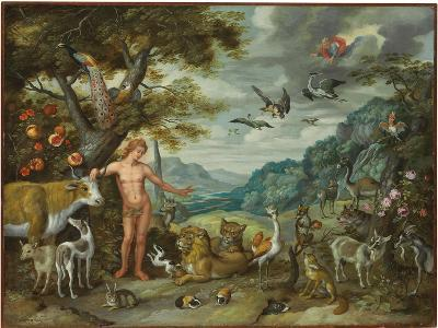 Adam Naming the Animals, from the Story of Adam and Eve-Jan Brueghel the Younger-Giclee Print