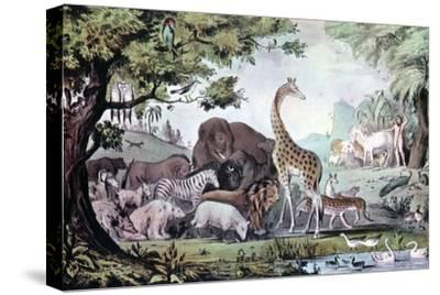 Adam Naming the Creatures, 1847-Nathaniel Currier-Stretched Canvas Print