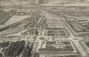 Planche 211: Vue générale à vol d'oiseau du château, des jardins, canaux et parc de Chantilly, by Adam Perelle