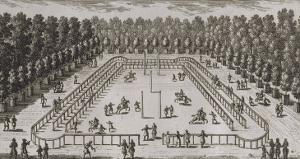 Planche 242: vue du manège dans le petit parc du château de Chantilly // vue de la fontaine de by Adam Perelle