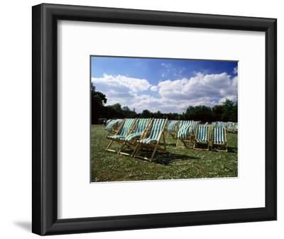Deckchairs in Regents Park, London, England, United Kingdom