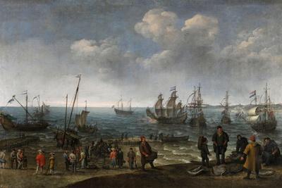 Adam Willaerts / Playa con pescadores, 1627