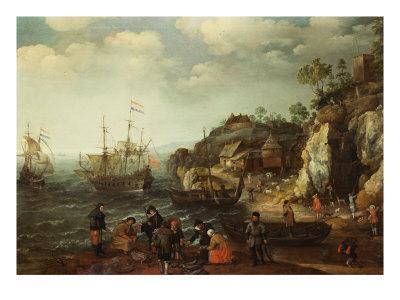 Coastal Scene with Fishermen and Huntsmen on the Shore, 1626