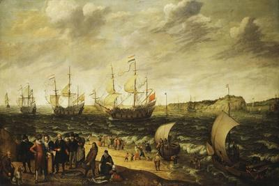 Men-Of-War Sailing Out of an Estuary with Figures in the Forground