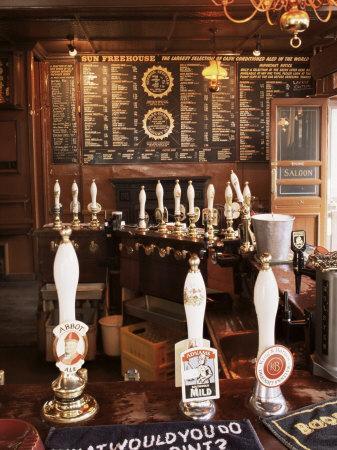 Beer Pumps and Bar, Sun Pub, London, England, United Kingdom