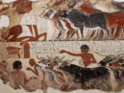 Fragment of a Tomb Painting Dating from Around 1400 BC from Thebes, Egypt, North Africa, Africa