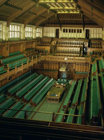 Interior of the Commons Chamber, Houses of Parliament, Westminster, London, England
