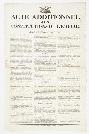 Additional Act to the Constitutions of the Empire, 22 April 1815--Giclee Print