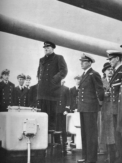 'Addressing the Crew of H.M.S. Exeter on their return from the sinking of the Graf Spee at the b-Unknown-Photographic Print