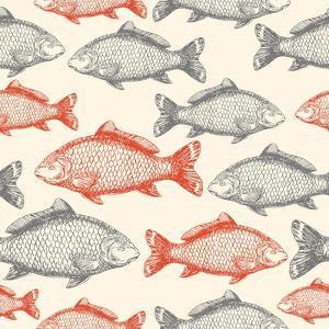 Carp Fish Asian Style Seamless Pattern. Vector Illustration by adehoidar