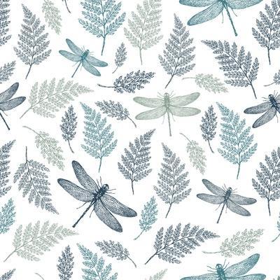Dragonfly Seamless Pattern. Fern Botanical Background. Vector Illustration