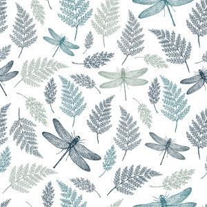 Dragonfly Seamless Pattern. Fern Botanical Background. Vector Illustration by adehoidar