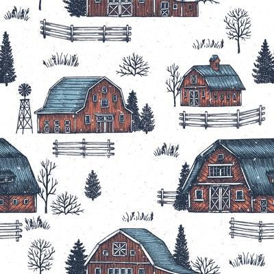 Farm Country Seamless Pattern. Cute Houses Background. Engraved Style Illustration. Vector Illustra