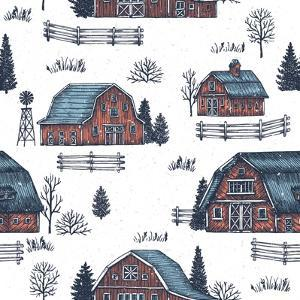 Farm Country Seamless Pattern. Cute Houses Background. Engraved Style Illustration. Vector Illustra by adehoidar