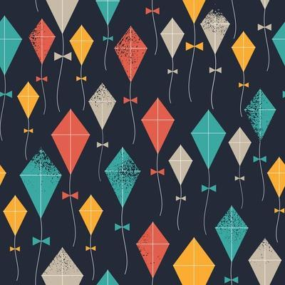 Kites Seamless Pattern. Flying Kites Background. Retro Fabric Style. Vector Illustration
