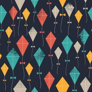 Kites Seamless Pattern. Flying Kites Background. Retro Fabric Style. Vector Illustration by adehoidar